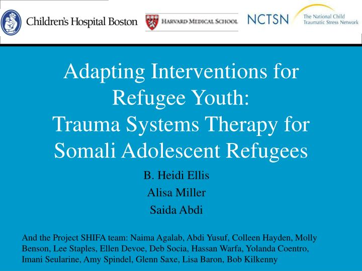 Adapting Interventions for Refugee Youth:
