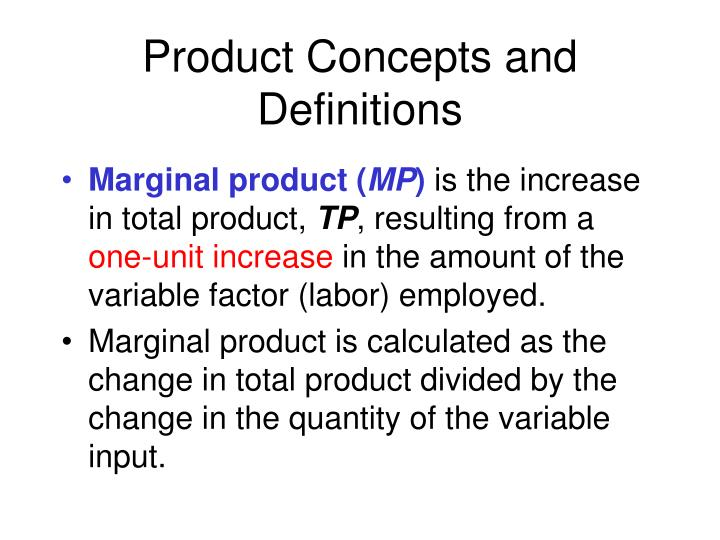 Product Concepts and Definitions