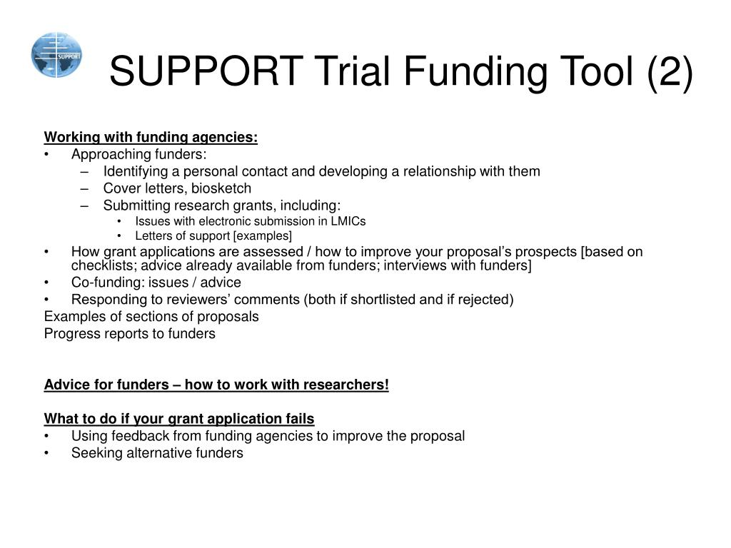 PPT - SUPPORT Trial Funding Tool PowerPoint Presentation