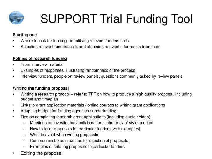 support trial funding tool n.