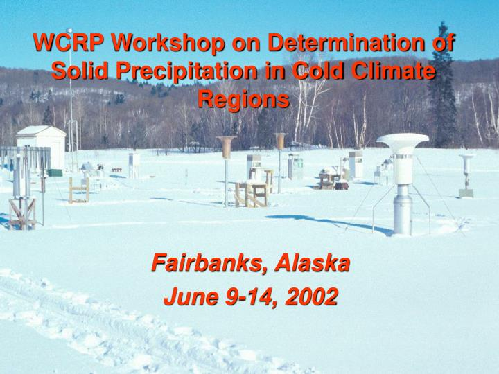 wcrp workshop on determination of solid precipitation in cold climate regions n.