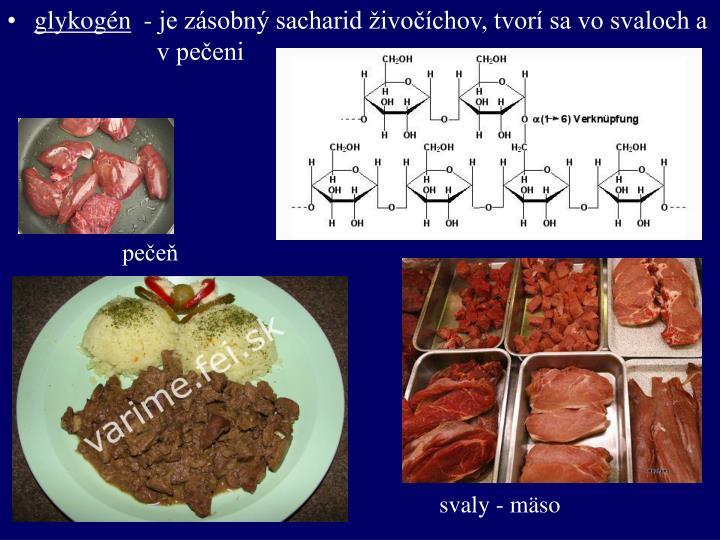 - je zásobný sacharid živočíchov, tvorí sa vo svaloch a