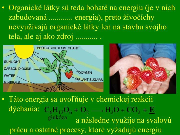 Organické látky sú teda bohaté na energiu (je v nich zabudovaná ............ energia), preto živočíchy nevyužívajú organické látky len na stavbu svojho tela, ale aj ako zdroj ........... .