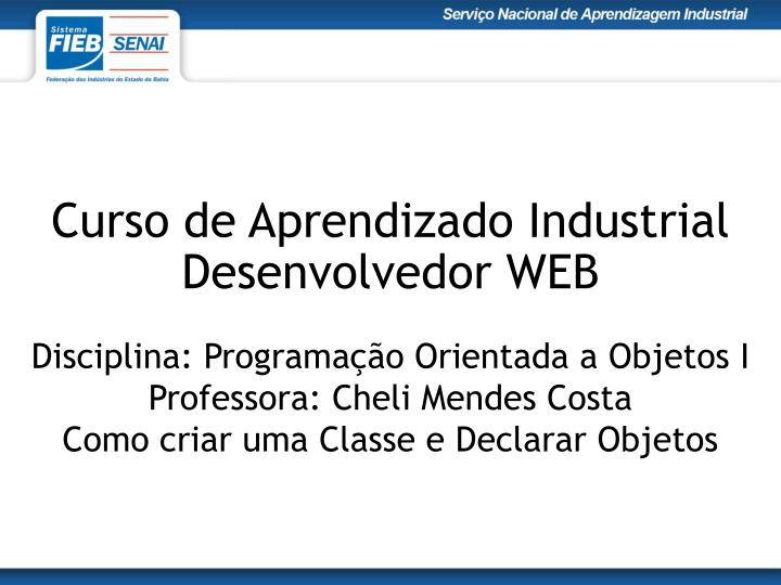 Curso de aprendizado industrial desenvolvedor web