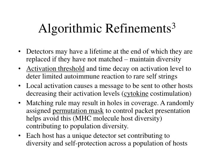 Algorithmic Refinements