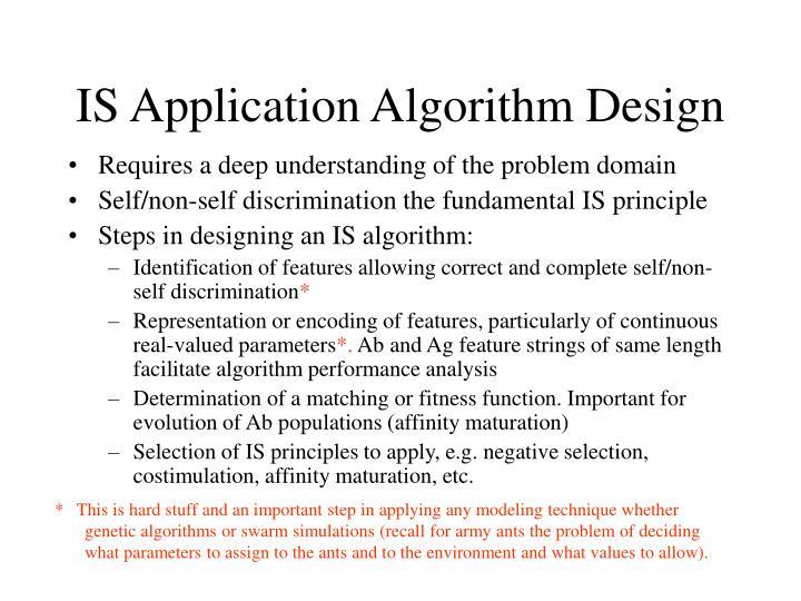 IS Application Algorithm Design