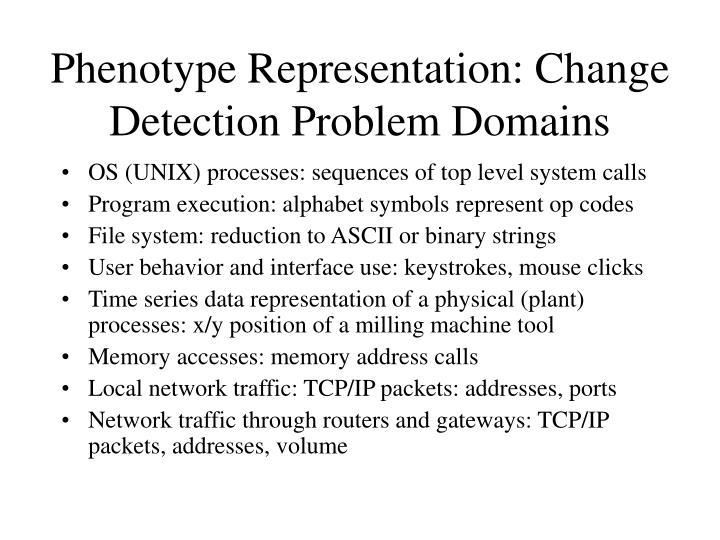 Phenotype Representation: Change Detection Problem Domains
