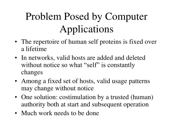 Problem Posed by Computer Applications