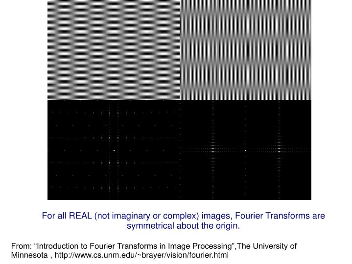 For all REAL (not imaginary or complex) images, Fourier Transforms are symmetrical about the origin.
