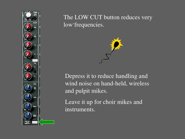 The LOW CUT button reduces very low frequencies.
