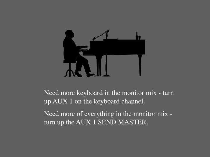 Need more keyboard in the monitor mix - turn up AUX 1 on the keyboard channel.