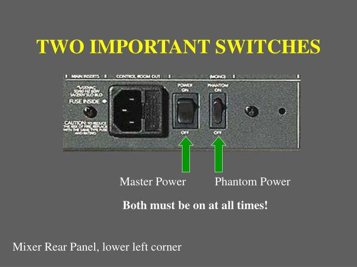 TWO IMPORTANT SWITCHES