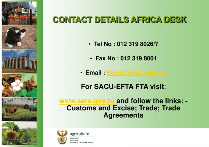 CONTACT DETAILS AFRICA DESK