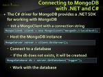 connecting to mongodb with net and c