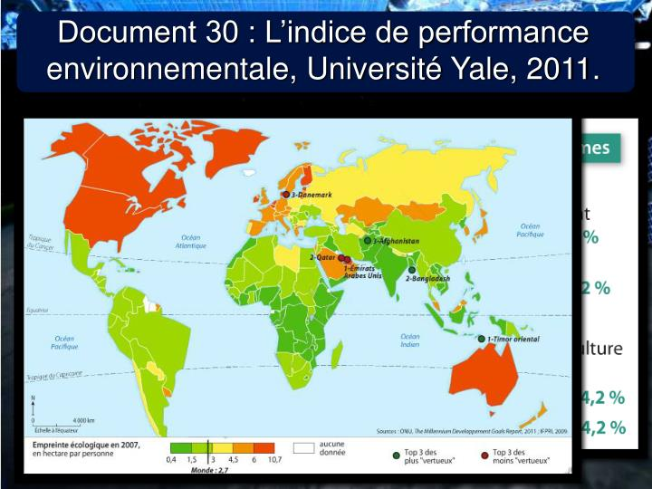 Document 30 : L'indice de performance environnementale, Université Yale, 2011.