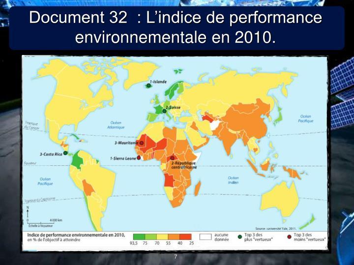 Document 32  : L'indice de performance environnementale en 2010.
