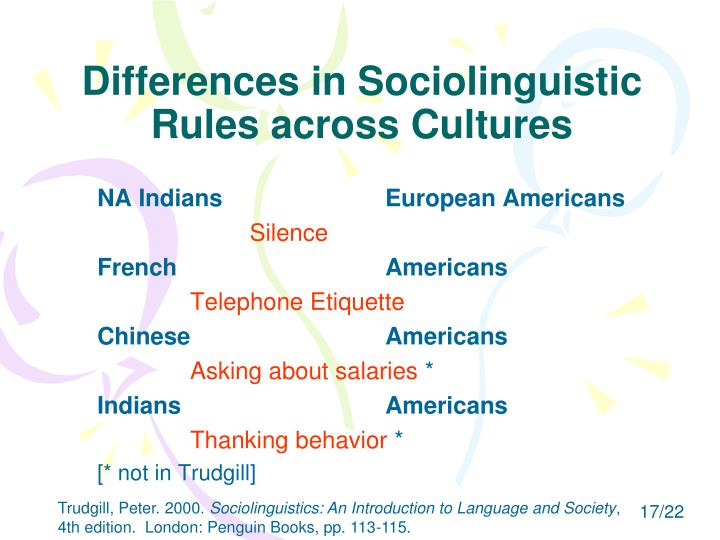 Differences in Sociolinguistic Rules across Cultures
