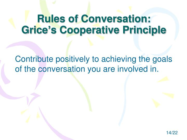 Rules of Conversation: