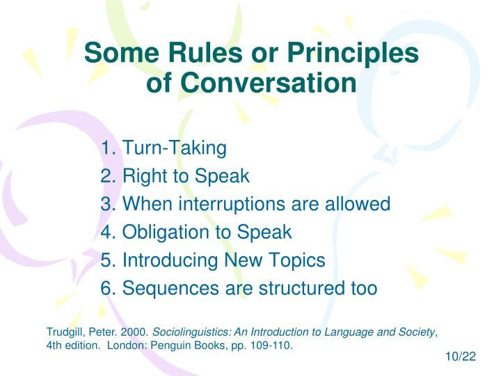 Some Rules or Principles