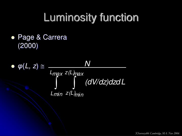 Luminosity function