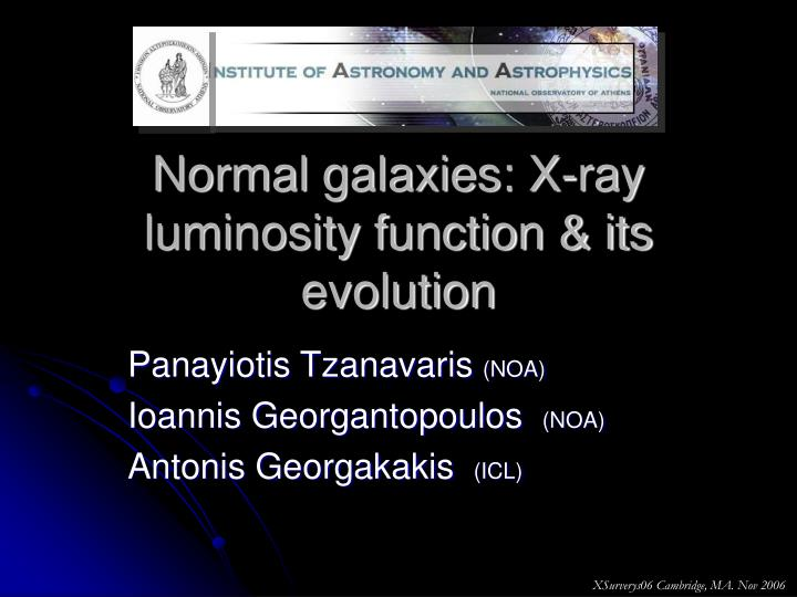 Normal galaxies x ray luminosity function its evolution