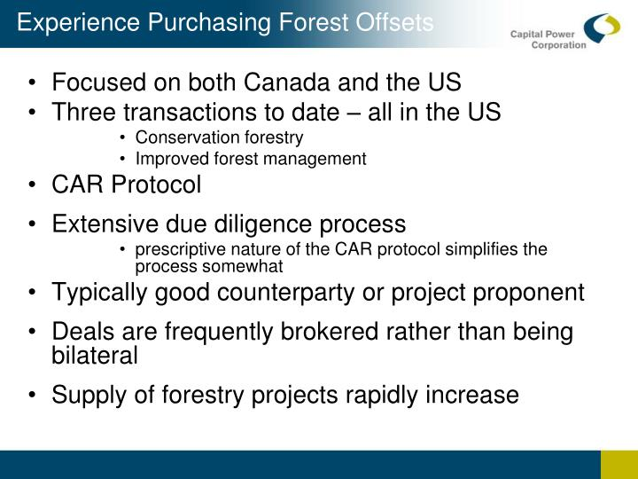 Experience Purchasing Forest Offsets