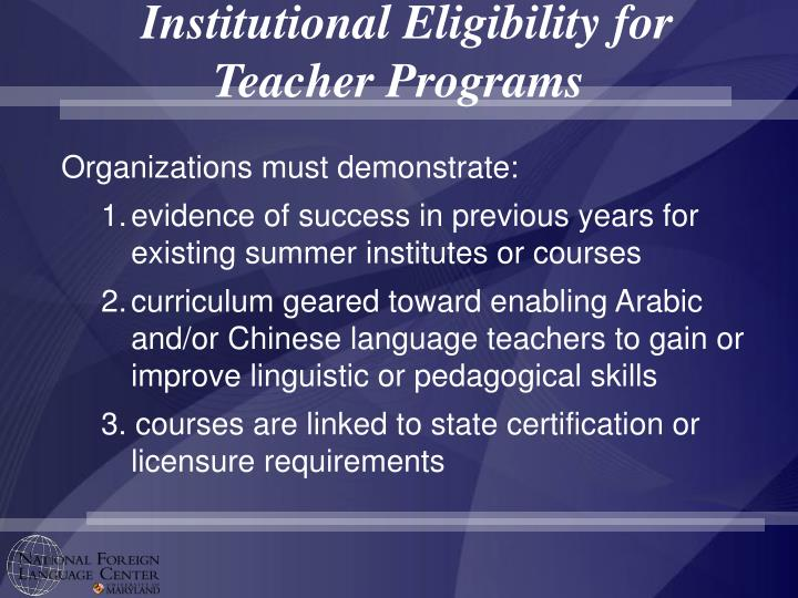 Institutional Eligibility for