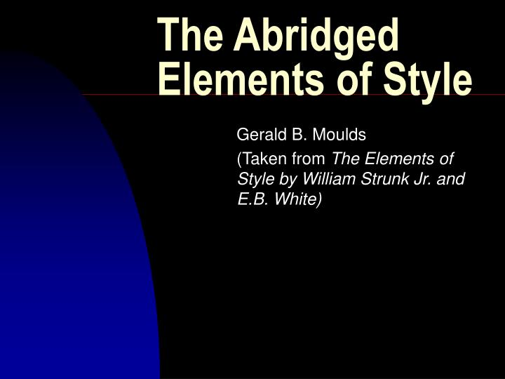 The abridged elements of style