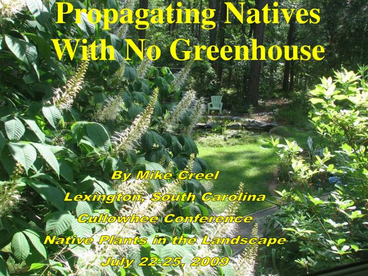 propagating natives with no greenhouse n.