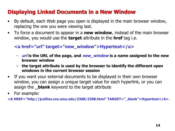 Displaying Linked Documents in a New Window