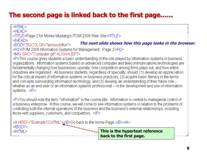 The second page is linked back to the first page……