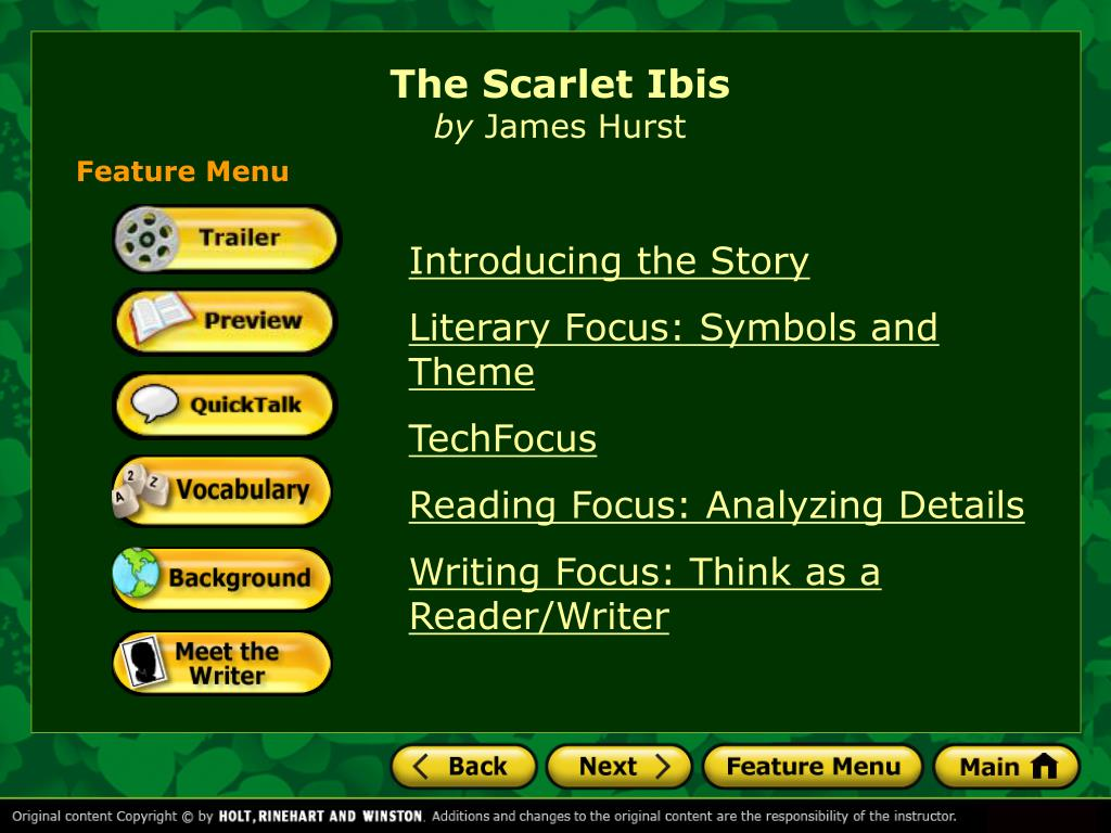 Ppt The Scarlet Ibis By James Hurst Powerpoint Presentation Id