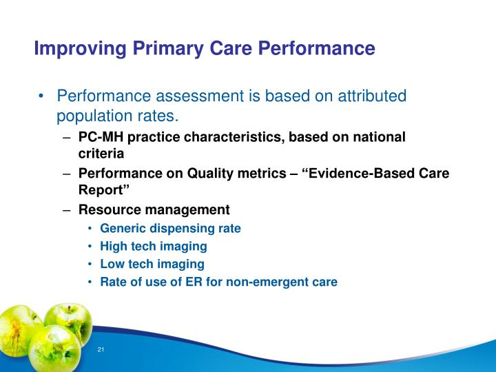 Improving Primary Care Performance