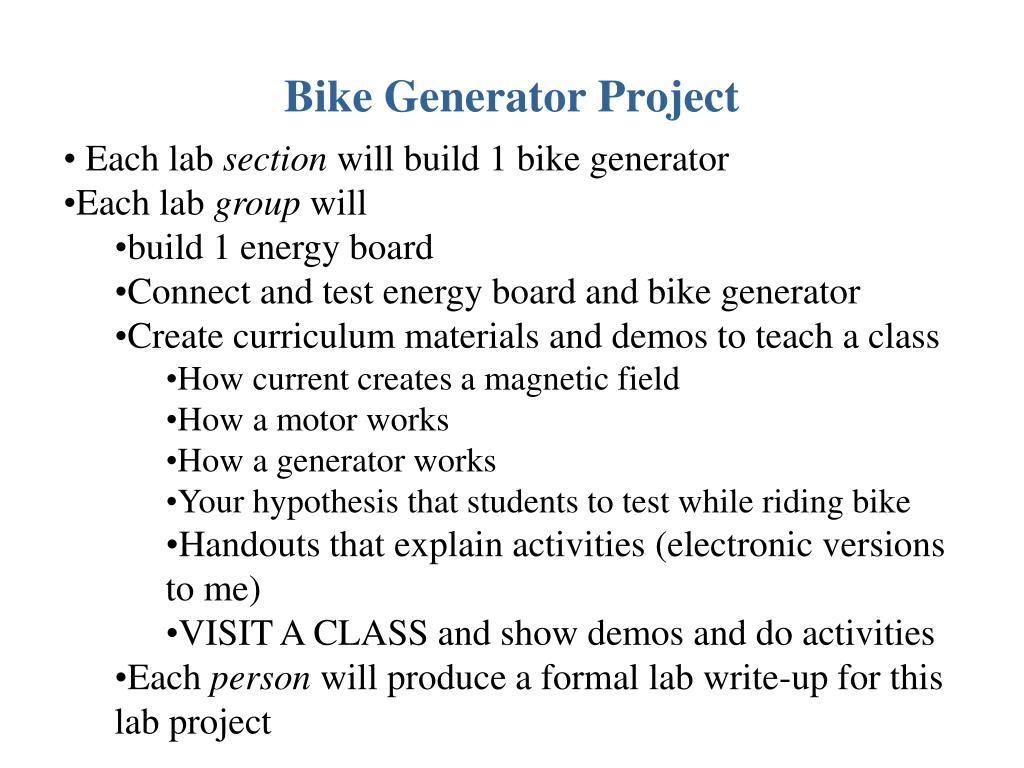 Ppt Bike Generator Project Powerpoint Presentation Id6119331 Police Bicycle Siren Circuits Electronic Projects N