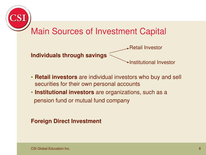 Main Sources of Investment Capital