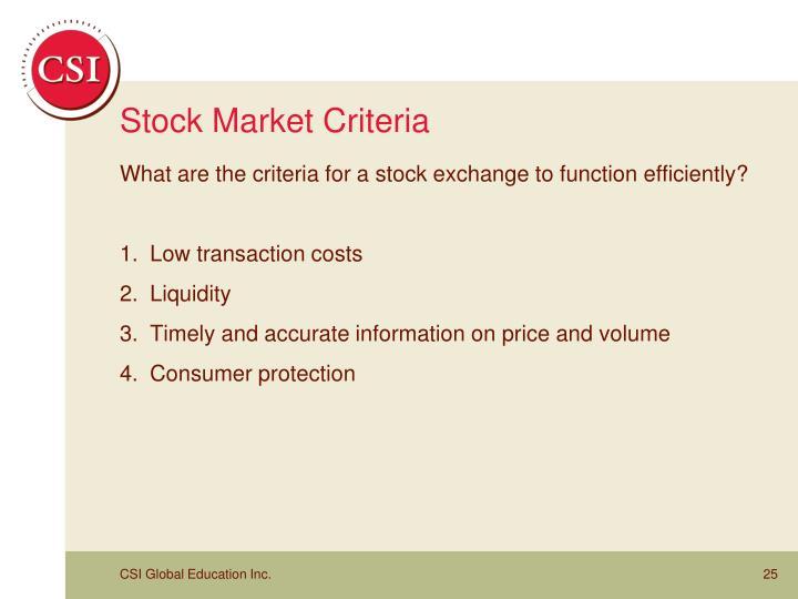 Stock Market Criteria