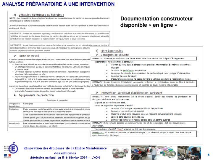 Documentation constructeur disponible «en ligne»