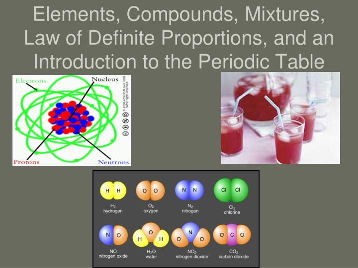 Ppt elements and compounds powerpoint presentation id6119674 elements compounds mixtures law of definite proportions and an introduction to the periodic table urtaz Choice Image