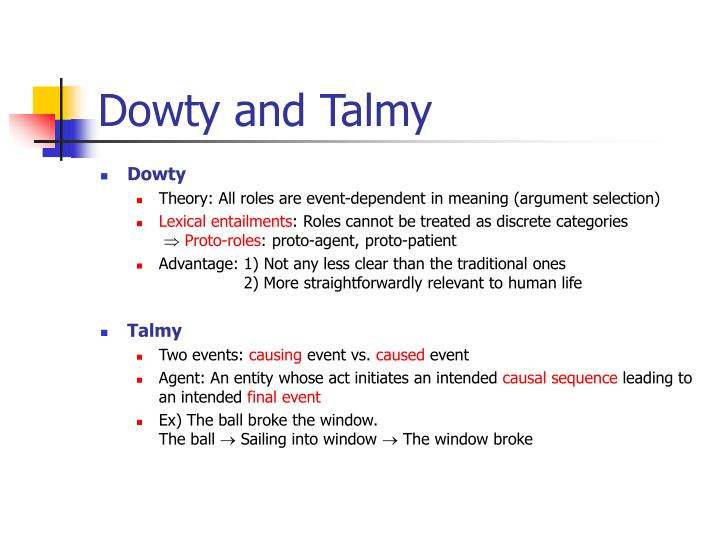 Dowty and Talmy