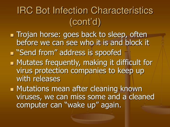 IRC Bot Infection Characteristics (cont'd)