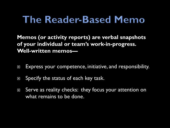 The Reader-Based Memo