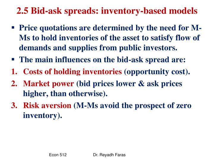 2.5 Bid-ask spreads: inventory-based models