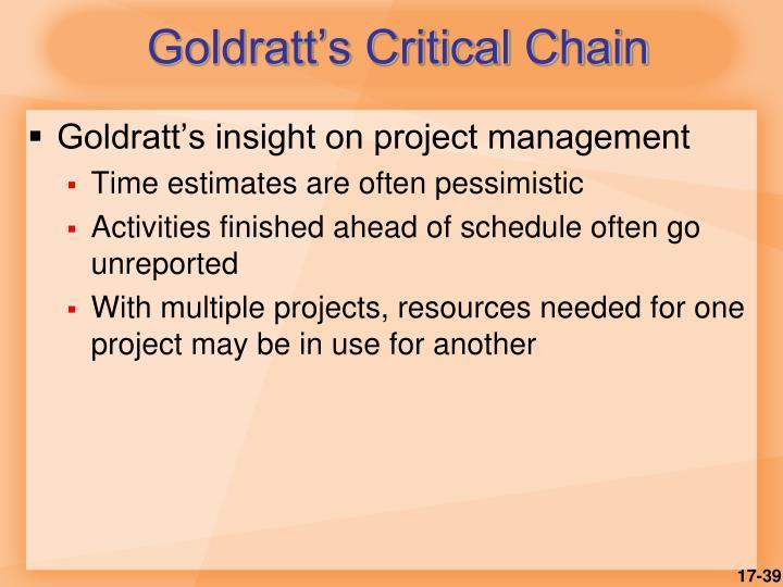 Goldratt's Critical Chain
