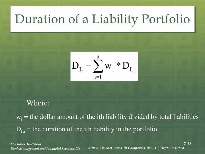 Duration of a Liability Portfolio