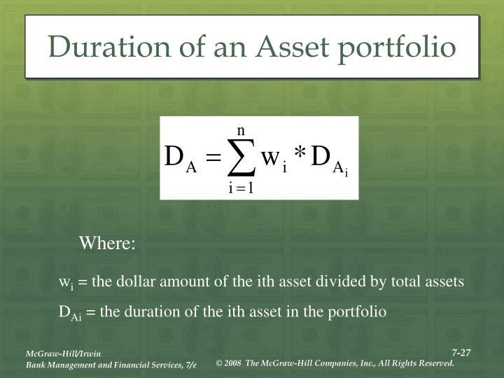 Duration of an Asset portfolio