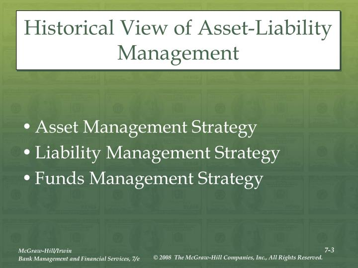 Historical view of asset liability management