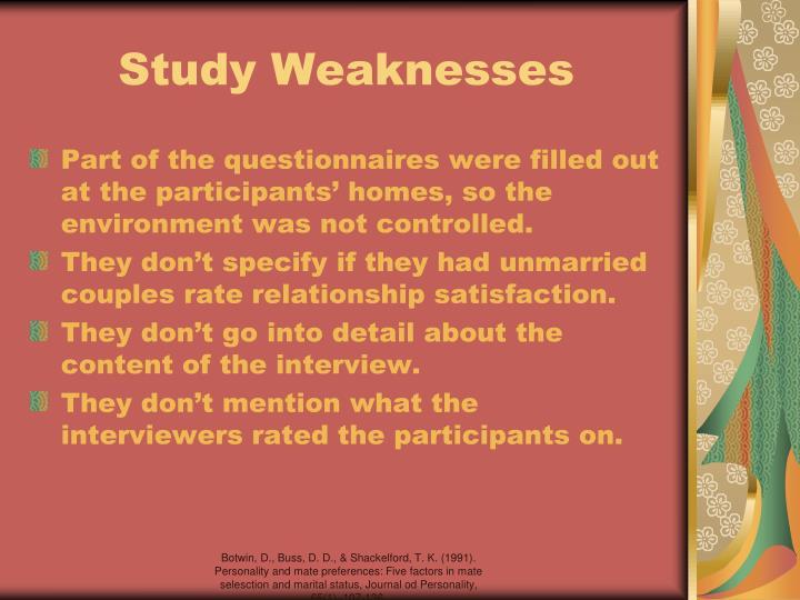 Study Weaknesses