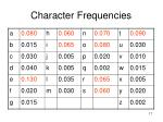 character frequencies