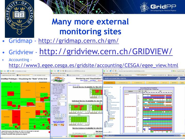 Many more external monitoring sites