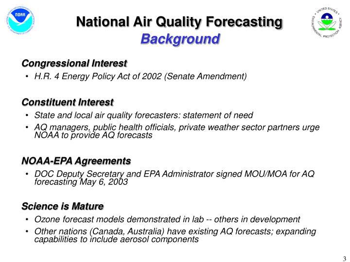 National air quality forecasting background